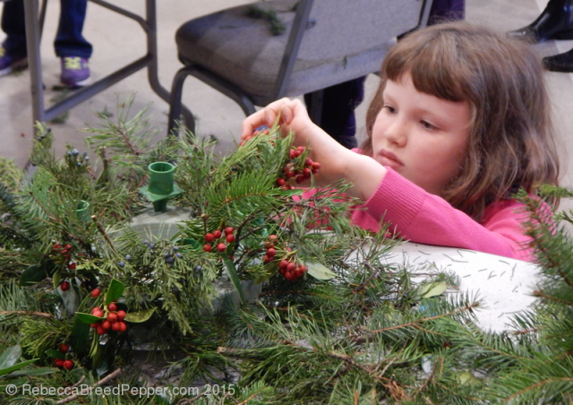 Betsy working on wreath 20151129