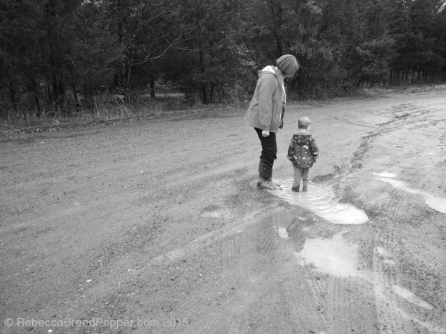 Grandma and Henry Standing in a Puddle 20151119