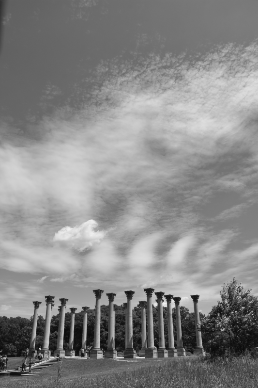 Columns and Clouds B&W