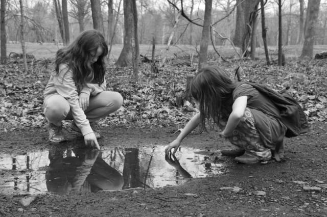 Girls in Puddle B&W